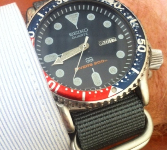 Seiko Diver on a Zulu strap  from #cheapestnatostraps.com #seiko #diverswatch #zulustrap #natostrap #natoband