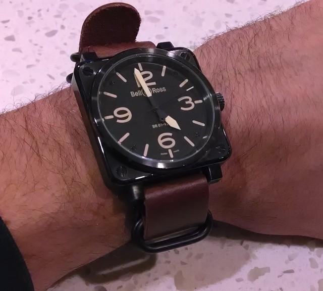 Bell&Ross on a $29 handmade PVD leather Zulu strap from #cheapestnatostraps.com #bellandross #pilotwatch #zulustrap #leathernatostrap #natostrap #natoband #watchuseek #klocksnack