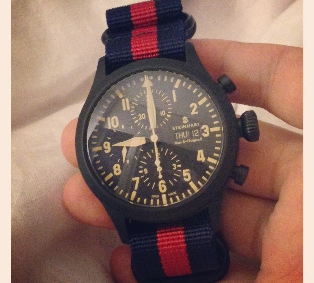 Steinhart chronograph on a PVD coated Zulu strap from #cheapestnatostraps.com #steinhart #zulustrap #natostrap #natoband #watchuseek