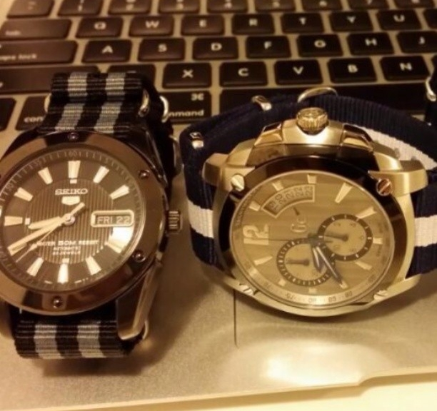 Seiko and Guess on NATO straps from #cheapestnatostraps #seiko #guess #natostrap #natoband