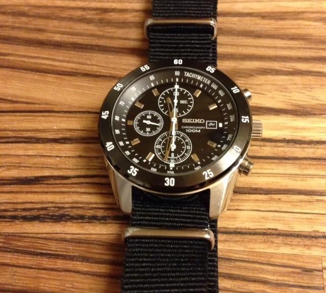 Seiko chronograph on a $7 NATO strap from #cheapestnatostraps.com #seiko #natostrap #natoband