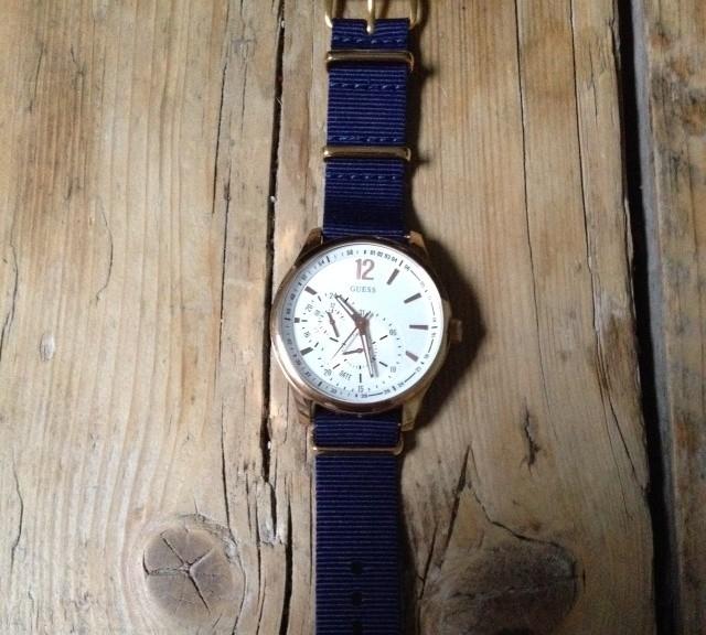Guess watch on a premium NATO strap from #cheapestnatostraps.com #guess #natostrap #natoband #chronograph