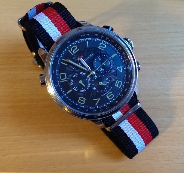 Tommy Hilfiger watch on a $7 NATO strap from #cheapestnatostraps #tommyhilfiger #natoband #natostrap