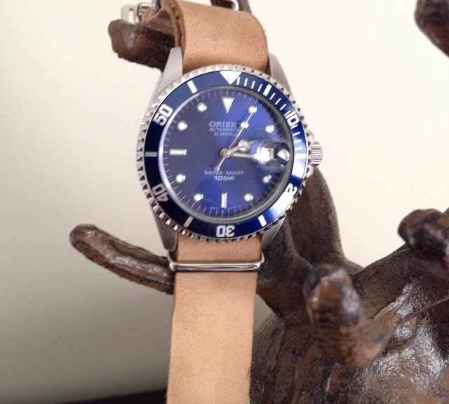 Orient on a $15 leather NATO strap from #cheapestnatostraps.com #leathernatostrap #natostrap #natoband #nato
