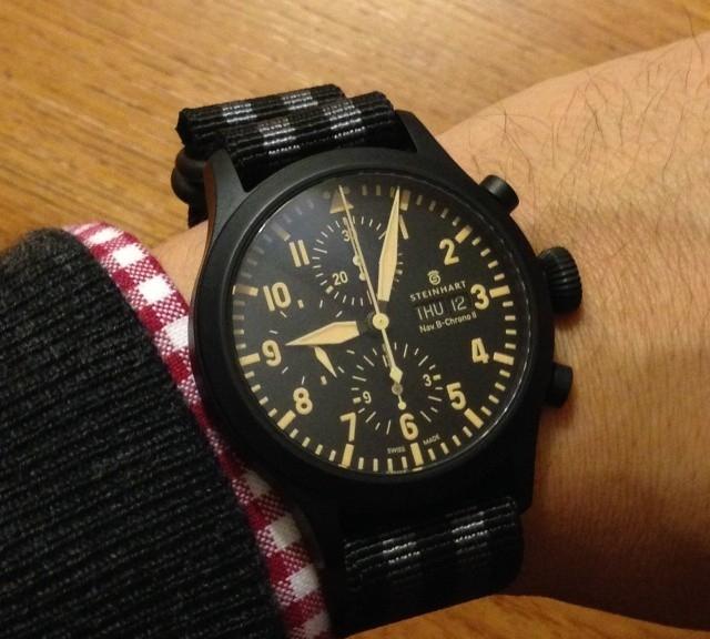 Steinhart chronograph on a PVD coated James Bond striped Zulu strap from #cheapestnatostraps.com #steinhart #watchuseek #zulustrap #natostrap #natoband #jamesbond