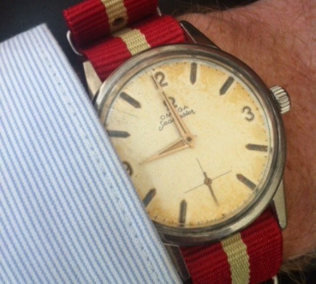Vintage Omega on a $7 NATO strap from #cheapestnatostraps.com #omega #vintagewatch #natostrap #natoband #klocksnack