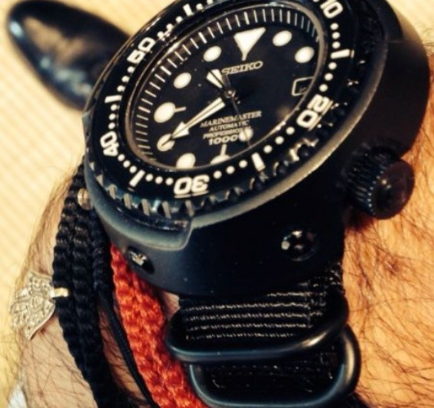 Seiko Marinemaster on a PVD Zulu strap from #cheapestnatostraps #seiko #diverswatch #zulustrap #natostrap #natoband