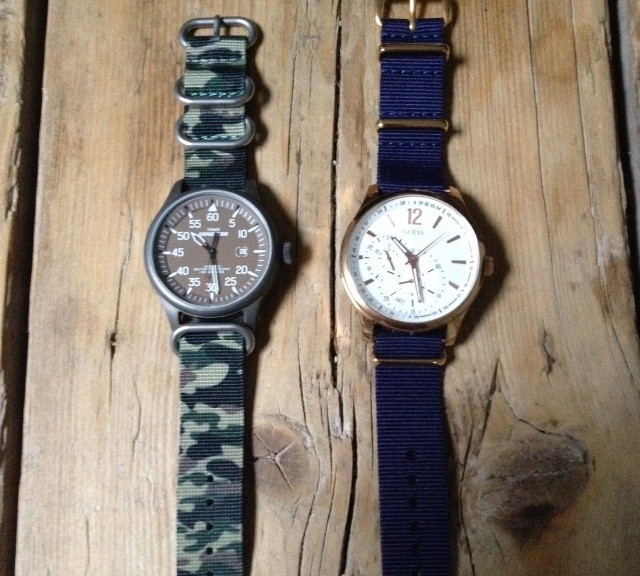 Timex and Guess on NATO straps from #cheapestnatostraps.com #timex #guess #natostrap #natoband #zulustrap