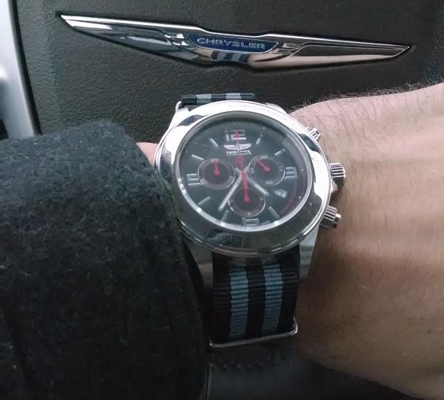 Invicta chronograph on a $7 James Bond striped NATO strap from #cheapestnatostraps.com #invicta #chronograph #jamesbond #natostrap #natoband