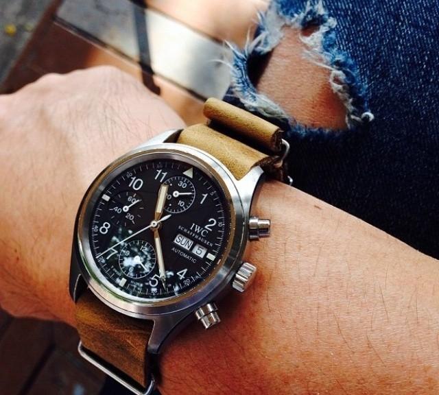 IWC on a leather NATO strap from #cheapestnatostraps.com #iwc #leathernatostrap #natostrap #natoband #klocksnack #watchuseek #timetotalk #pilotwatch