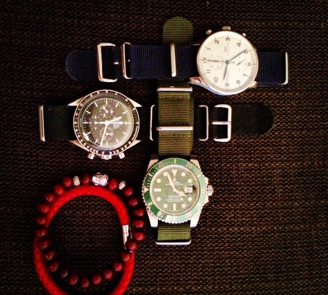 IWC Portuguese, Omega Speedmaster and Rolex Submariner with NATO straps from #cheapestnatostraps.com #iwc #iwcportuguese #omegaspeedmaster #speedmaster #omega #rolexsubmariner #rolex #submariner #klocksnack #timetotalk #watchuseek