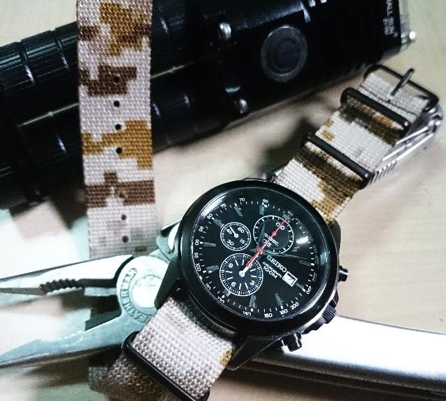 @dxsibo's Seiko Chronograph on a PVD coated NATO strap from #cheapestnatostraps.com #seiko #chronograph #natostrap #natoband #camo #watchuseek #klocksnack #instawatch