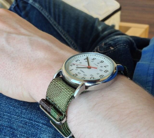 Timex Weekender on a premium camo NATO strap from #cheapestnatostraps.com #timexweekender #timex #weekender #natostrap #natoband #instawatch