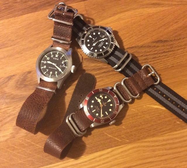Vixa, Tudor and Steinhart on NATO straps from #cheapestnatostraps.com #vixa #steinhart #tudor #zulustrap #leathernatostrap #natostrap #natoband #klocksnack #watchesofinstagram #watchuseek #instawatch #diverswatch #pilotwatch
