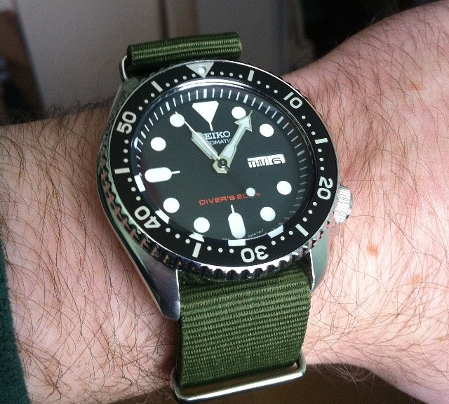 Seiko diver on a NATO strap from #cheapestnatostraps.com #seiko #seikodiver #diverswatch #natostrap #natoband #klocksnack #watchuseek