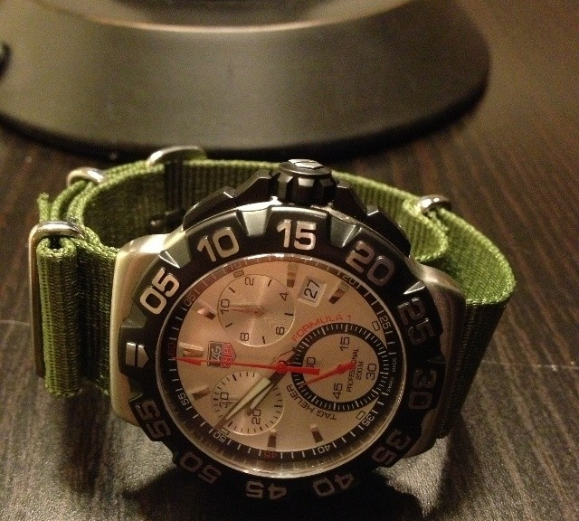 Tag Heuer chronograph on a khaki green NATO strap from #cheapestnatostraps.com #tagheuer #chronograph #diverswatch #natostrap #natoband #klocksnack #watchuseek #watchband #watchstrap