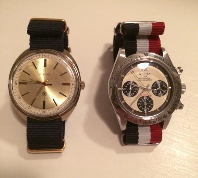 Vintage gold Raketa and a Alpha Paul Newman on NATO straps from #cheapestnatostraps.com #alpha #paulnewman #raketa #vintagewatch #goldwatch #russianwatch #natostrap #natoband #klocksnack #watchuseek #watchband #watchstrap