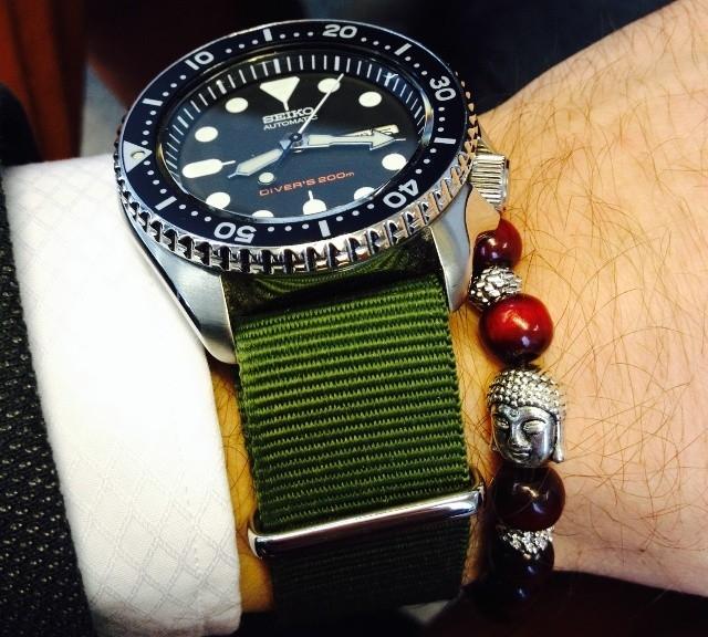 Seiko on a NATO strap from #cheapestnatostraps.com #seikodiver #seiko #natostrap #natoband