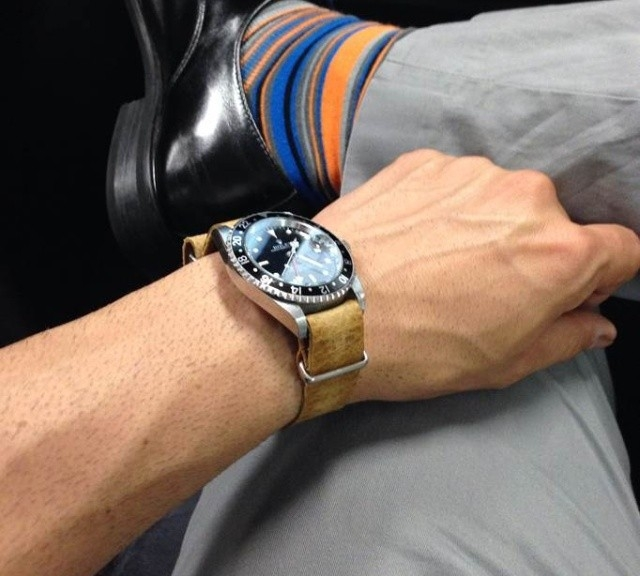 Rolex GMT Master II on a leather NATO strap from #cheapestnatostraps.com #rolex #rolexgmt #gmtmasterII #natostrap #natoband #klocksnack #watchuseek