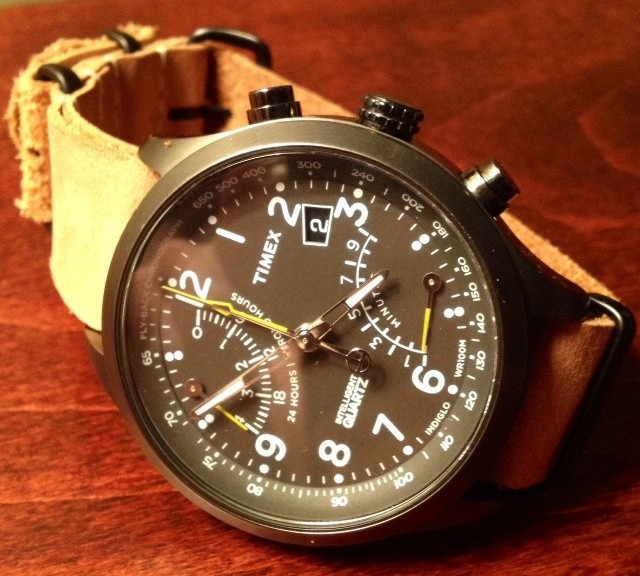 Timex Chronograph Flyback on a PVD leather NATO strap from #cheapestnatostraps.com #timexflyback #timex #chronograph #leathernatostrap #natostrap #natoband #klocksnack #watchuseek