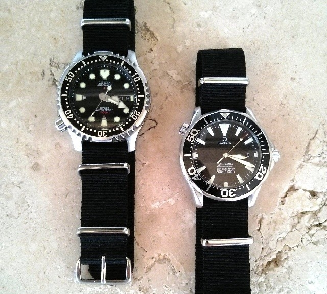 Omega Seamaster and Citizen on NATO straps from #cheapestnatostraps.com #omegaseamaster #omega #seamaster #citizen #diverswatch #natostrap #natoband #klocksnack #watchuseek