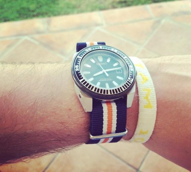 Seiko Samurai on a NATO strap from #cheapestnatostraps.com #seiko #diverswatch #natostrap #natoband #klocksnack #watchuseek