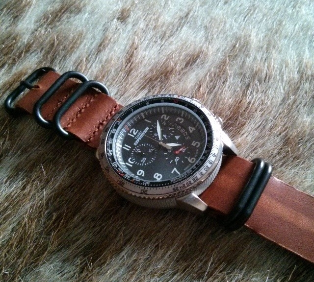 Timex Expedition on a PVD coated leather Zulu strap from #cheapestnatostraps.com #timexexpedition #timex #expedition #leathernatostrap #zulustrap #natostrap #natoband #klocksnack #watchuseek