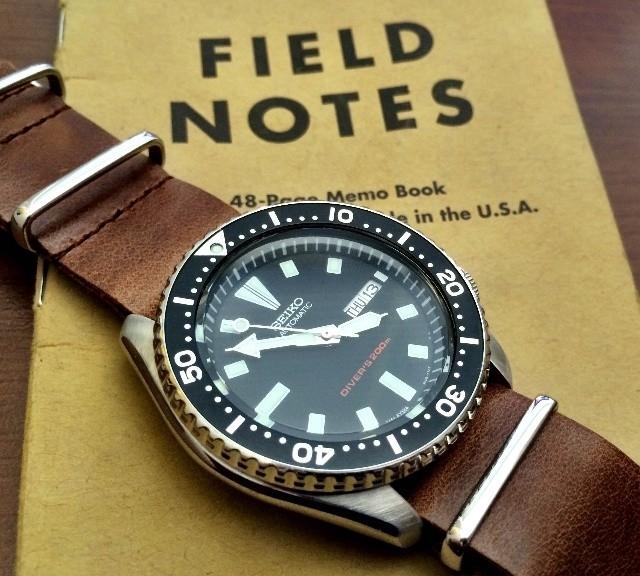 Seiko on a leather NATO strap from #cheapestnatostraps.com #seiko #seikodiver #leathernatostrap #natostrap #natoband #klocksnack #watchuseek #watchband #watchstrap
