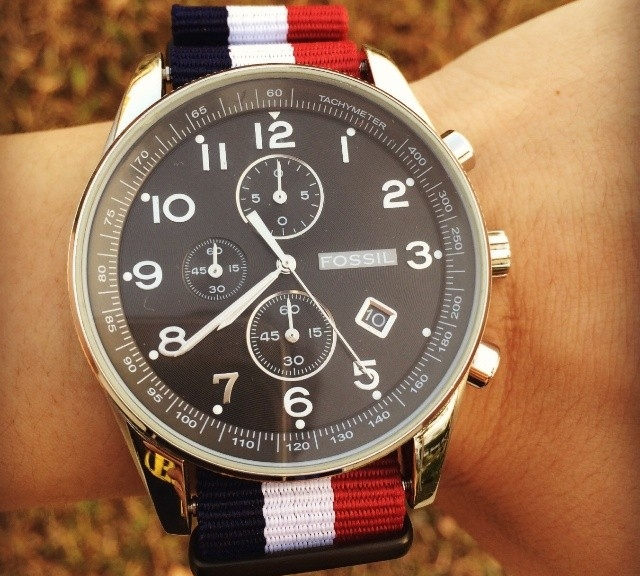 @reykinman's Fossil Chronograph on a NATO strap from #cheapestnatostraps.com #fossil #chronograph #natostrap #natoband #klocksnack #watchuseek #watchband #watchstrap