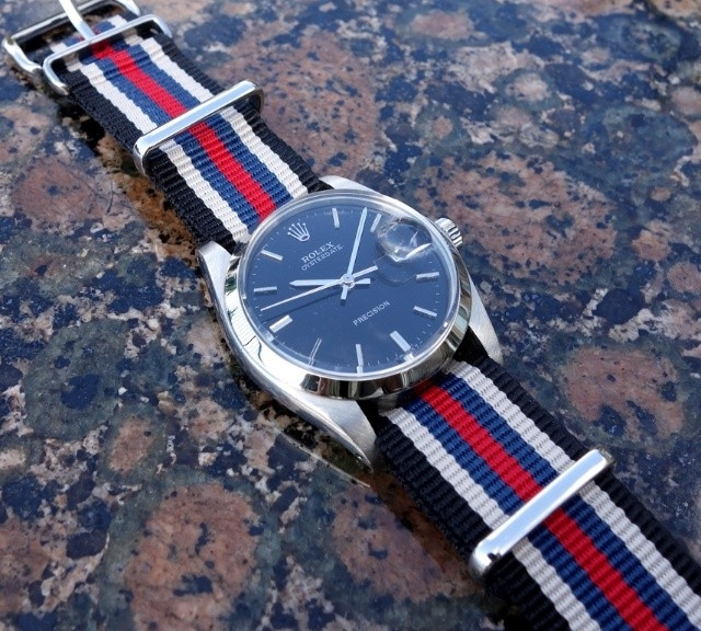Vintage Rolex Datejust on a NATO strap from #cheapestnatostraps.com #rolex #rolexdatejust #vintagewatch #natostrap #natoband #klocksnack #watchuseek #watchband #watchstrap