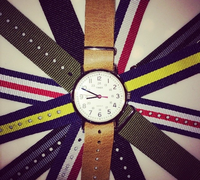 Timex Weekender with a collection of NATO straps from #cheapestnatostraps.com #timexweekender #timex #weekender #leathernatostrap #natostrap #natoband #klocksnack #watchuseek #watchband #watchstrap