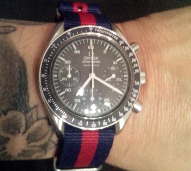 Omega Speedmaster on a NATO strap from #cheapestnatostraps.com #omegaspeedmaster #speedmaster #omega #speedy #natostrap #natoband #klocksnack #watchuseek #watchband #watchstrap