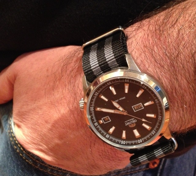 Orient watch on a James Bond striped NATO strap from #cheapestnatostraps.com #orient #jamesbond #natostrap #natoband #klocksnack #watchuseek #watchband #watchstrap