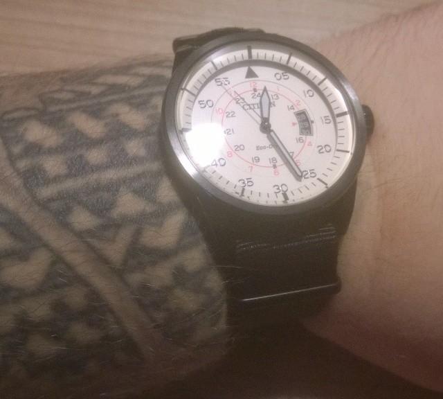 Citizen Aviator on a black NATO strap with PVD hardware from #cheapestnatostraps.com #citizen #aviator #pilotwatch #natostrap #natoband #klocksnack #watchuseek #watchband #watchstrap