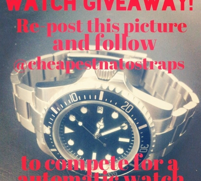 I'm giving away a really nice 47 mm automatic sub worth $195. Re-post this picture and follow @cheapestnatostraps if you want to compete for it!
