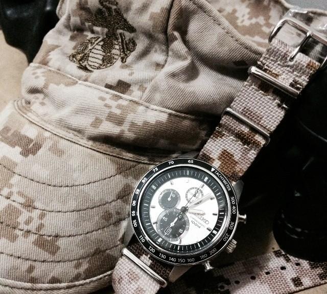 Seiko Chronograph on a NATO strap from #cheapestnatostraps.com #seikochronograph #seiko #natostrap #natoband #camo #klocksnack #watchuseek #instawatch #watchesofinstagram #watchaddict #wristporn