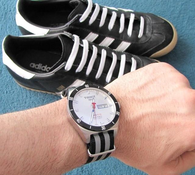 Tissot on a reflective NATO strap from #cheapestnatostraps.com #tissot #natostrap #natoband #klocksnack #watchuseek #instawatch #watchesofinstagram #watchaddict #wristporn #watchband #watchstrap