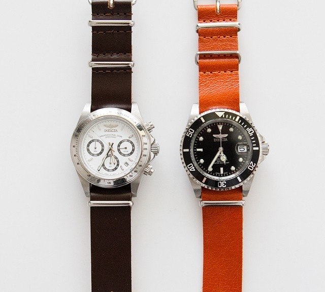 Invicta watches on leather NATO straps from #cheapestnatostraps.com #leathernatostrap #natostrap #natoband #klocksnack #watchuseek #instawatch #watchesofinstagram #watchaddict #wristporn #watchband #watchstrap