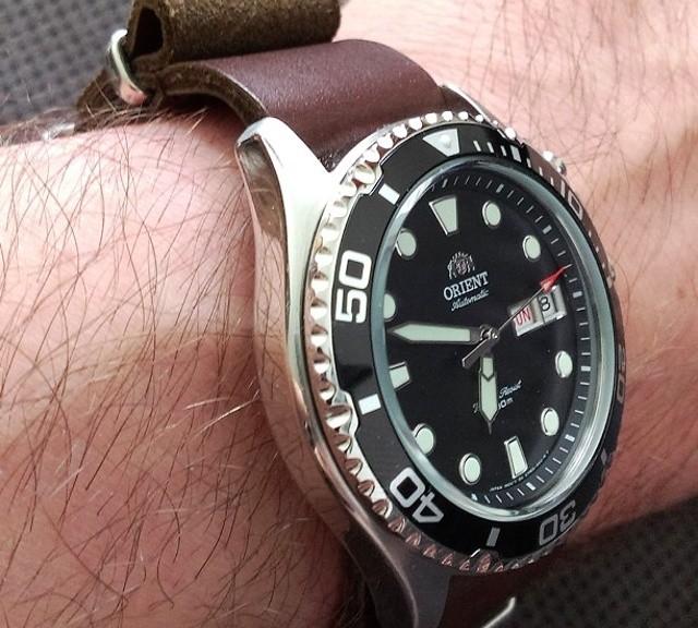 Orient watch on a leather NATO strap from #cheapestnatostraps.com #orient #leathernatostrap #natostrap #natoband #klocksnack #watchuseek #instawatch #watchesofinstagram #watchaddict #wristporn #watchband #watchstrap